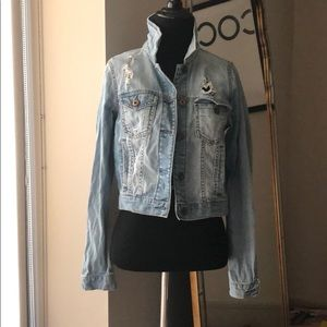 F21 distressed denim jacket